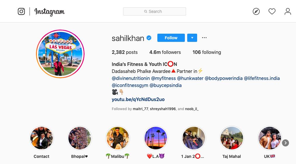Sahil Khan Instagram