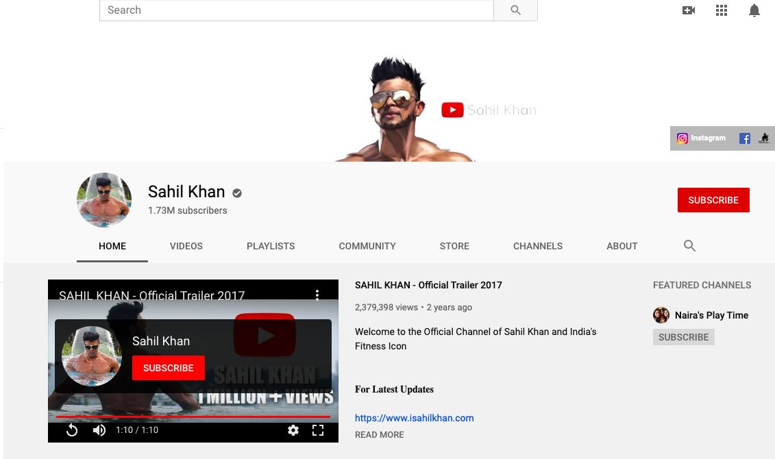 Sahil Khan YouTube